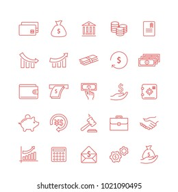 Money thin line icon set isolated on white backgroud. Flat icons for web site,mobile app,interface and law.Simple finance symbols like:dollar,euro,coin,safe,money wallet and chart. Vector illustration