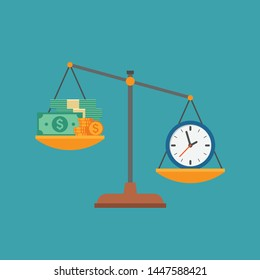 Money and time on scales as business concept of life choice. Symbol of financial success and stress from work balance, metaphor of working hours value. Flat vector illustration.