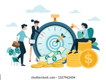Money and time saving ideas, planning and management Investment in the business achieves a specified period,Revenue growth.Vector illustration.