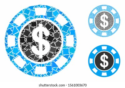 Money token mosaic of abrupt items in different sizes and color tinges, based on money token icon. Vector abrupt items are organized into collage. Money token icons collage with dotted pattern.