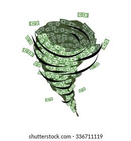 Money tornado. Whirlwind of dollars. Hurricane cash. Destructive funnel wind picks up and blows currency. Financial vortex.