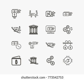 Money transaction icon line set with cash exchange return, nfc payment virtual and blockchain litecoin zcash. Set of payment app transaction related icon line vector items for web mobile logo design