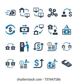 Money Transaction Icons - Blue Version