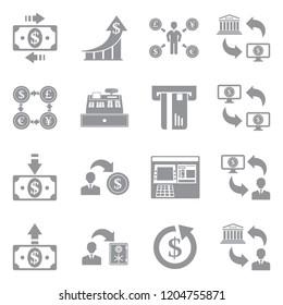 Money Transaction Icons. Gray Flat Design. Vector Illustration.