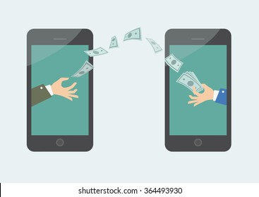 Money transaction on line, mobile payments using smartphone. Vector illustration of hand giving money other hand.