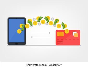 Money transaction smartphone telephone and credit card. Vector flat cartoon illustration