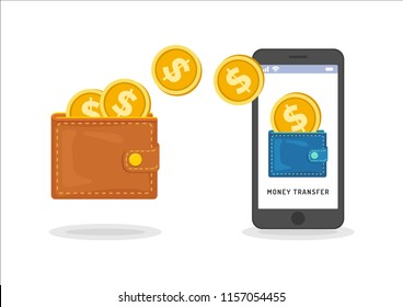 Money transfer between wallet and smartphone, flat styling. Vector illustration of online payment, money transaction. Design concept of capital flow, earning money, financial savings.