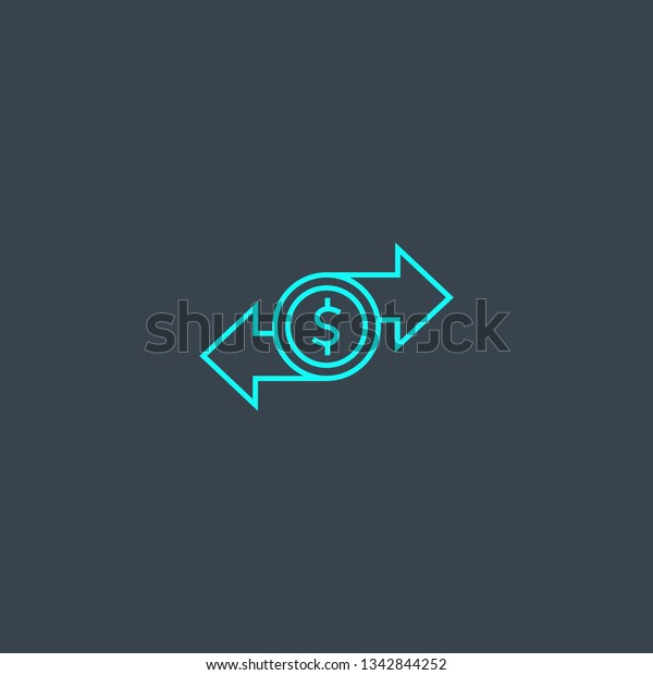 Money Transfer Concept Blue Line Icon Stock Vector (Royalty Free