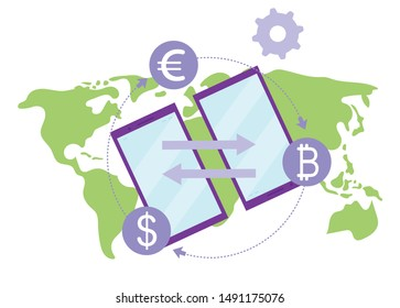 Money transfer flat illustration. International financial transactions and currency conversions rates concept. Remittance service. E payment gateway, fintech. Peer to peer global payments metaphor