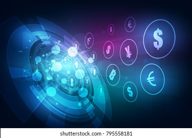 Money transfer. Global Currency. Stock Exchange. Stock vector illustration.
