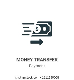 Money transfer glyph icon vector on white background. Flat vector money transfer icon symbol sign from modern payment collection for mobile concept and web apps design.