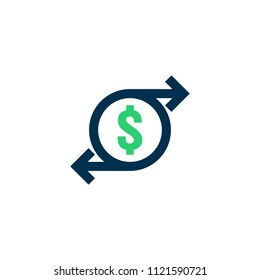 money transfer Icon. Chargeback contour sign. quick fund cash back symbol. Currency exchange refinance. Return on investment. Refund stock market business. Vector line illustration.