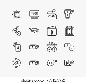 Money transfer icon line set with app payment transaction, crypto ico and computer money transfer. Set of payment application related money payment icon line vector items for web mobile logo UI design