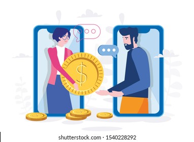 Money transfer, mobile payment, business woman and man i big mobile phone with golden coin. Vector illustration for web, print, presentation.