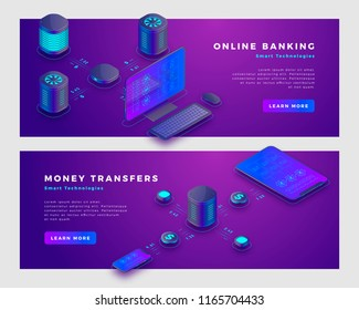 Money transfer operation and online banking concept. Landing page banner template. 3d isometric vector illustration.