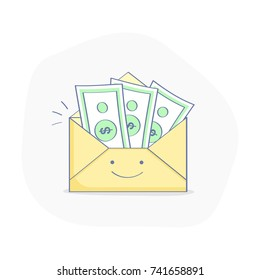 Money transfer, Payment, Wage or Salary. Happy envelope character with money inside. Flat outline isolated vector illustration. Modern financial concept.