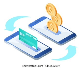 The money transfer process. Flat isometric isolated illustration. The sending and receiving coins with mobile phones and credit card. The banking, transaction, payment, online business vector concept