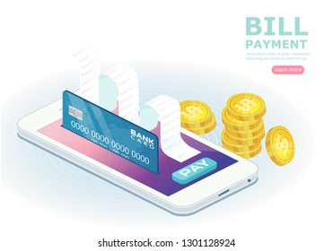 The money transfer process. Flat isometric isolated illustration. The sending and receiving coins with mobile phones and credit card. The banking, transaction, bill payment, vector concept