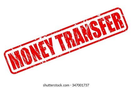 MONEY TRANSFER red stamp text on white