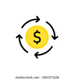 Money transfer service sign. Dollar conversion icon. Vector on isolated white background. EPS 10