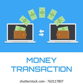 Money transfer transaction between device laptop. Online payment concept. Vector flat cartoon isolated icon illustration