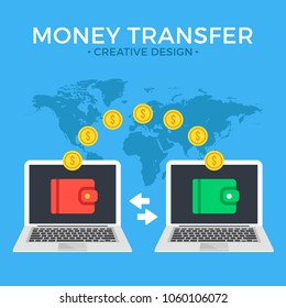 Money transfer. Two laptops with wallets on screen and transferred gold coins. Send money online, remittance, online payment, digital wallet, payment app concepts. Flat design. Vector illustration