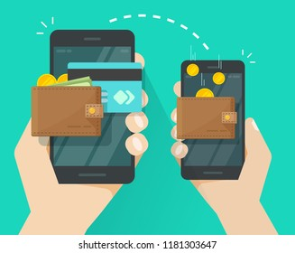 Money transfer via mobile phone vector illustration, flat cartoon person hands via smartphones with cash wallets, coins and credit cards transferring money wireless, cellphone transaction