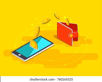 Money transfer from wallet into cellphone in isometric vector design. Digital payment or online cashback service. Mobile banking transaction concept. Withdraw money with smartphone.