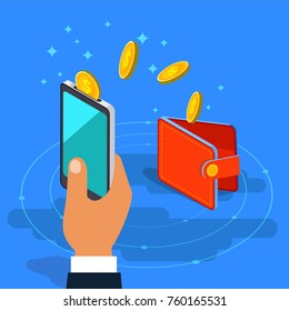 Money transfer from wallet into cellphone in isometric vector design. Digital payment or online cashback service. Mobile banking transaction cocnept. Withdraw money with smartphone.