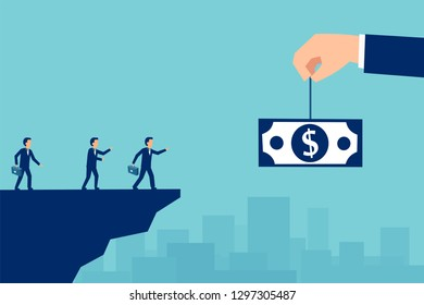 Money trap and business risks concept. Vector of greedy businesspeople running for the bait