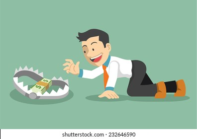 Money trap. Vector flat illustration