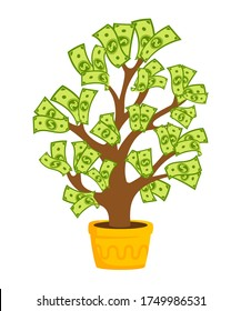 Money tree with banknotes. Flat cartoon potted house plant ceramic. Growing green dollar sprouts rising from pot. Hundreds dollars, paper bills. Isolated vector illustration