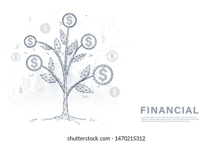 Money tree coins and money. Financial management, growing making money, and investment concept