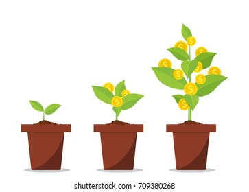 Money tree with coins growing. Financial Growth Concept. vector illustration in flat style