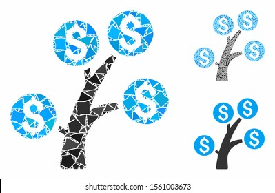 Money tree composition of trembly elements in variable sizes and color tones, based on money tree icon. Vector trembly dots are organized into collage. Money tree icons collage with dotted pattern.