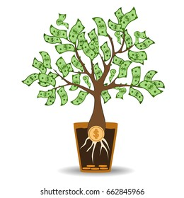 Money tree growing from a coin root. Green cash banknotes tree in ceramic pot. Modern flat style concept vector illustration