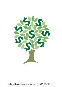 Money tree icon. Dollar. Vector illustration.