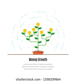 Money tree icon. Investmen, money growth concept. Flat style illustration.