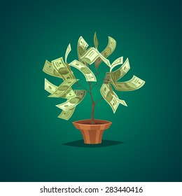 Money tree. Isolated object  background.