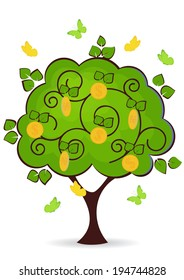 money tree with leaves and dollars vector