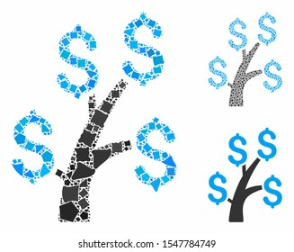 Money tree mosaic of bumpy items in variable sizes and color tones, based on money tree icon. Vector tremulant pieces are composed into collage. Money tree icons collage with dotted pattern.