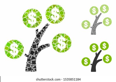 Money tree mosaic of irregular elements in variable sizes and color tones, based on money tree icon. Vector rough elements are grouped into collage. Money tree icons collage with dotted pattern.