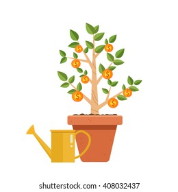 Money tree with watering can. Financial growth concept,Money growth, making money, investment, profit, financial management concept