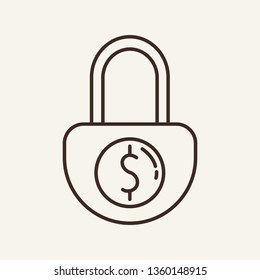 Money under lock line icon. Padlock, dollar symbol, block. Bankruptcy concept. Vector illustration can be used for debtor, insolvency, arrested accounts