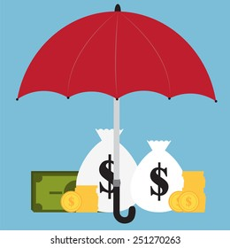 Money under the red umbrella. Money protection. The concept of funding a commercial project or investment in bank deposit. Flat design. Vector illustration