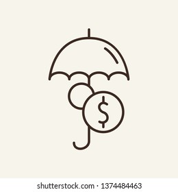 Money under umbrella line icon. Dollar, coin, cash. Finance concept. Vector illustration can be used for topics like safety, financial security, business