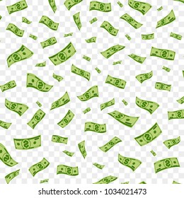Money vector background with isolated dollars falling down