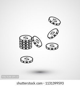 money vector icon, stock vector illustration flat design style