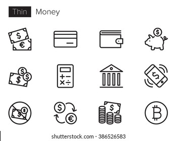 Money vector icons set Thin line outline