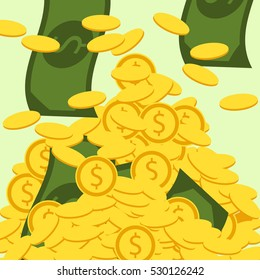 Money vector illustration. Falling golden coins and bills. Mountain of money. Finance background.